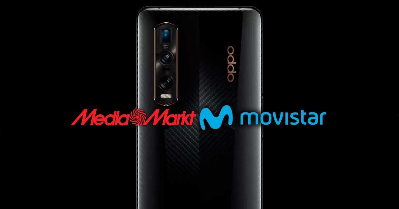 Oppo Find X2 con logotipo de mediamarkt y movistar