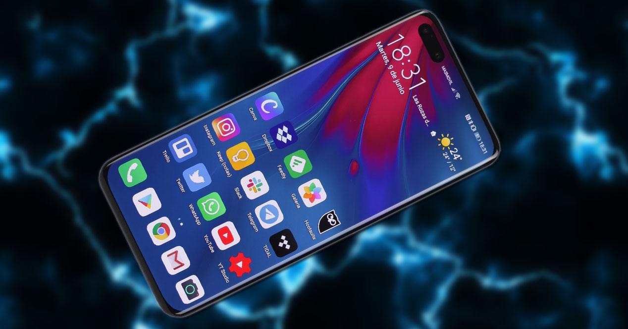 Smartphone Huawei P40 Pro+ con fondo eléctrico