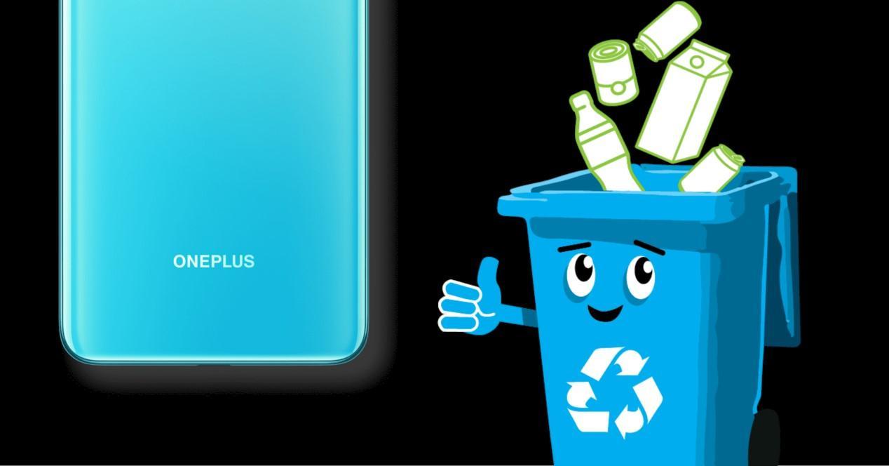 oneplus nord y contenedor de plásticos