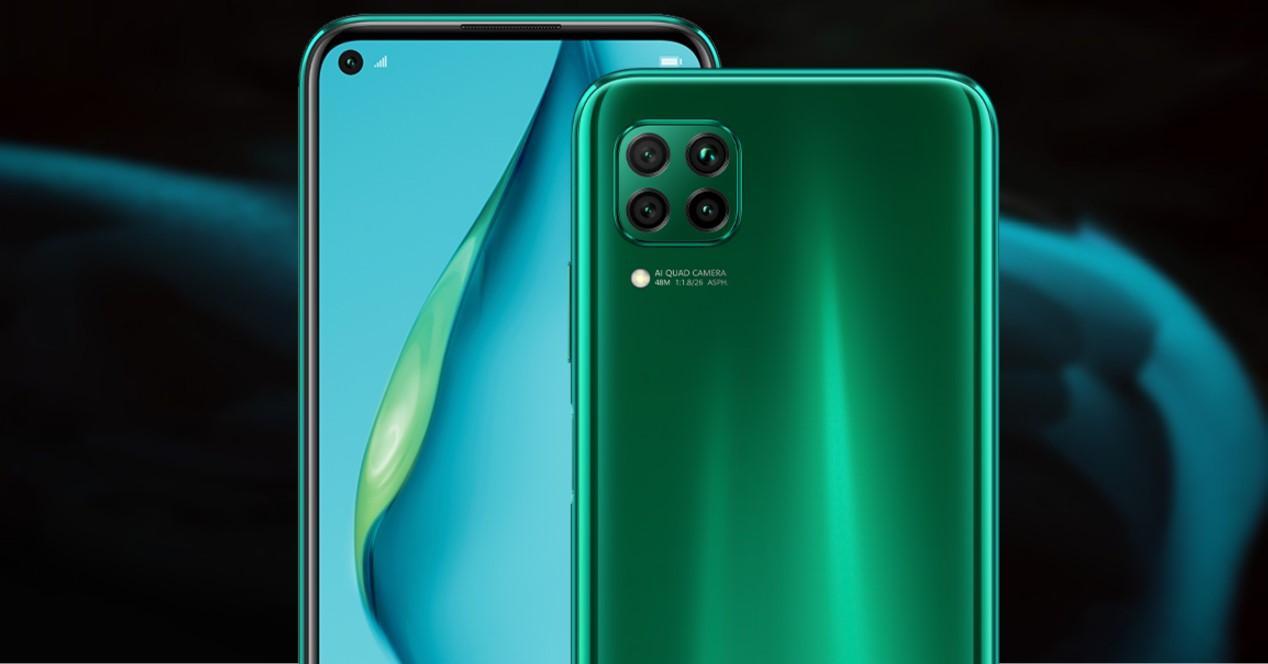 Huawei P40 Lite fondo negro y verde