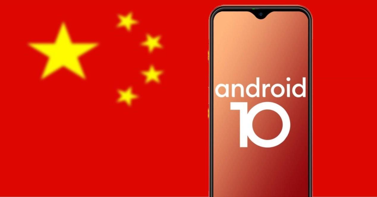 movil chino y bandera de china