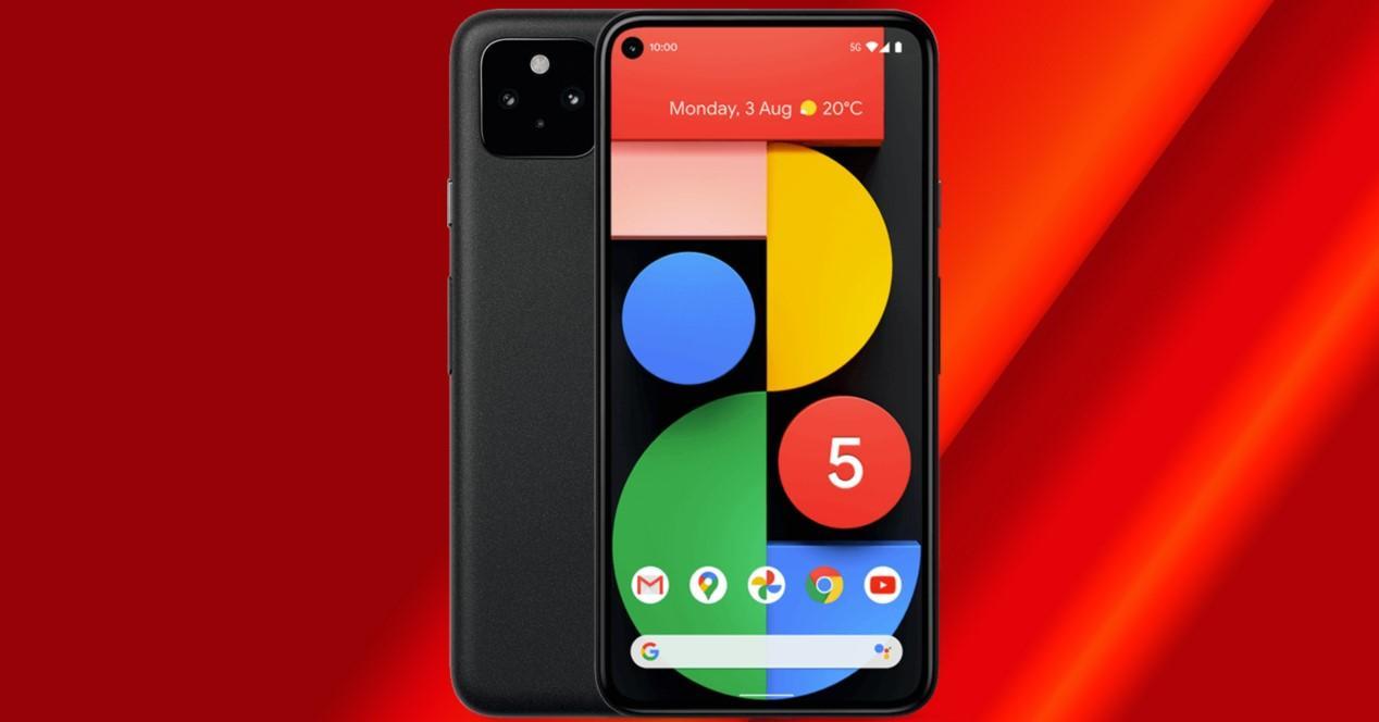 pixel 5 con fondo rojo