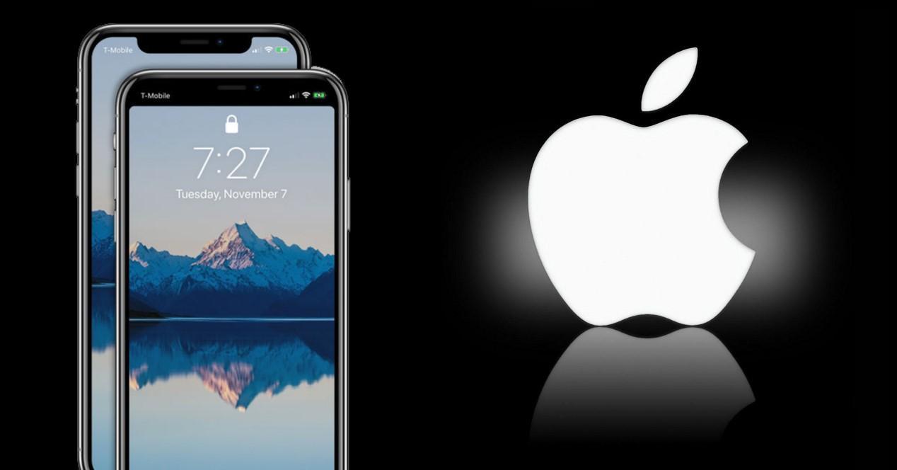 apple logo y iphone con notch