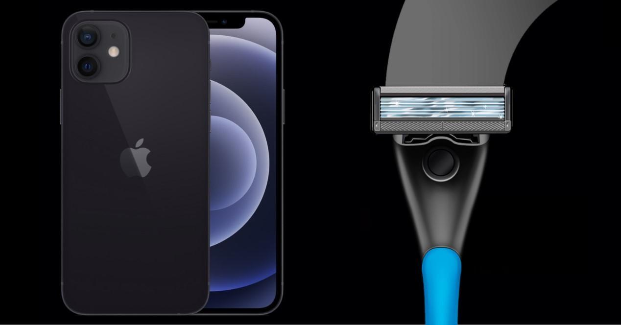 cuchilla afeitar y iphone