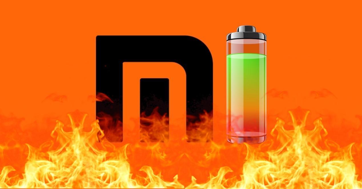 logo de xiaomi y bateria ardiendo