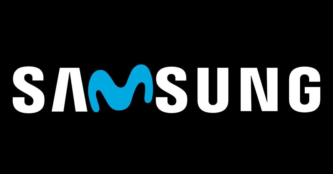 logo samsung fondo negro y logo movistar
