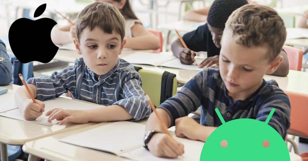 niño apple copiando a niño android