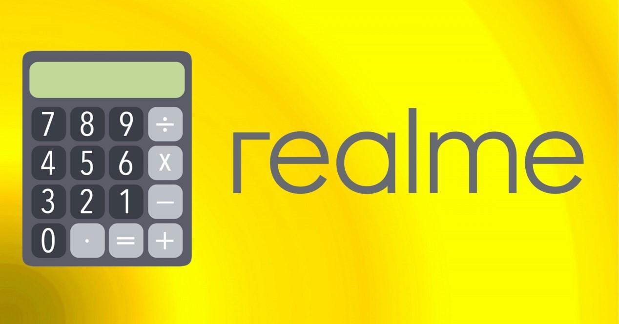 realme logo y calculadora