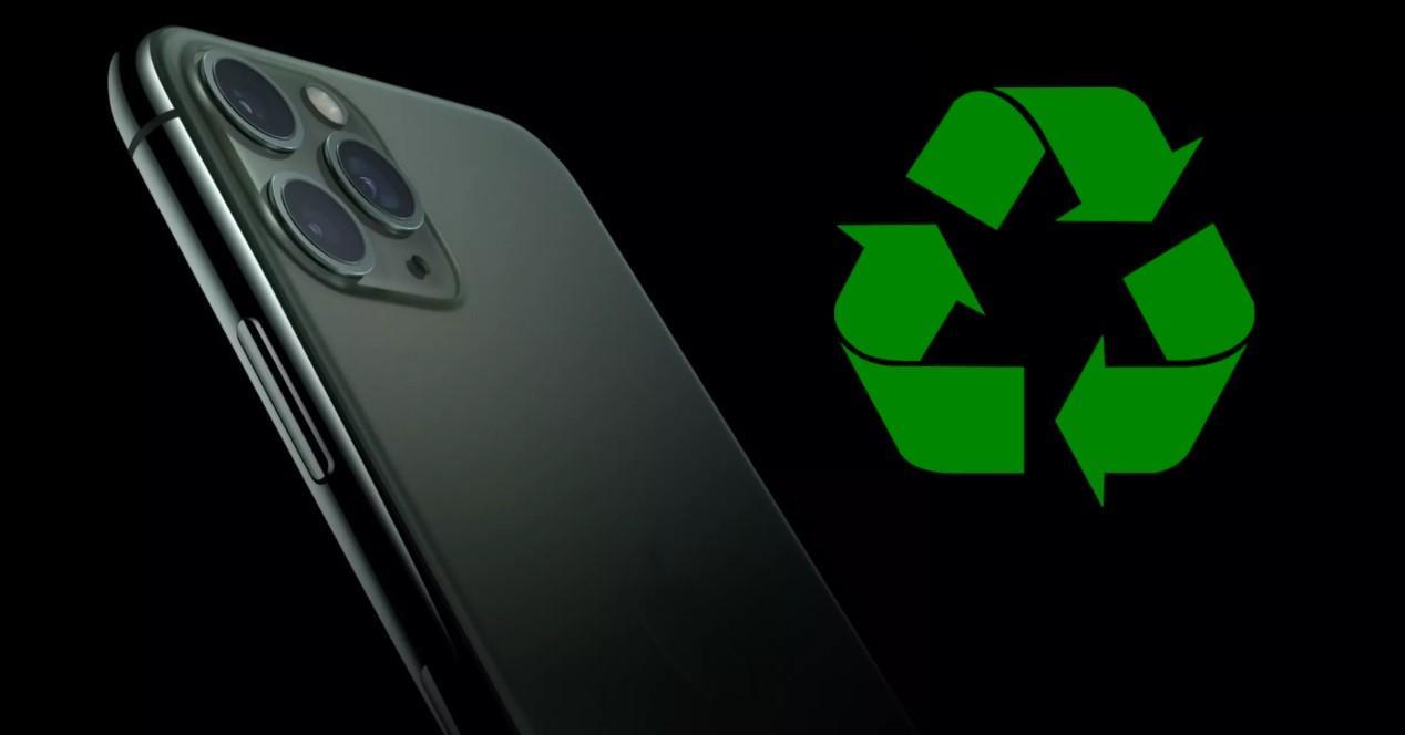 iPhone 11 pro y símbolo de reciclado