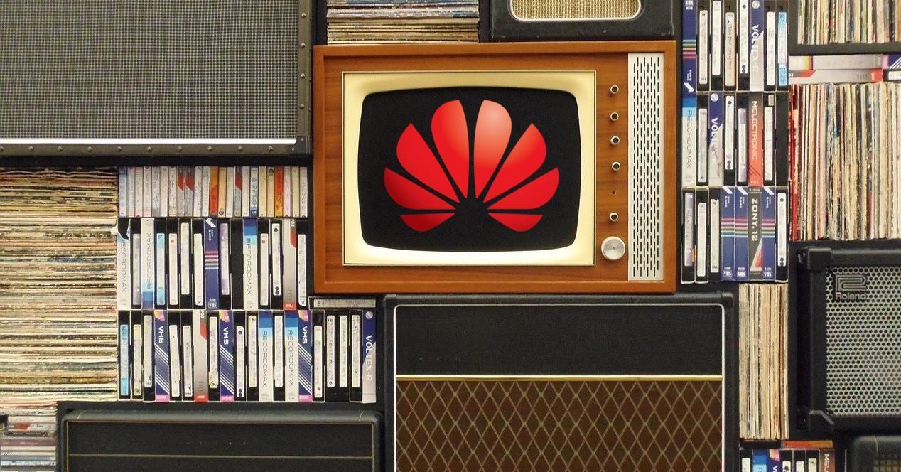 tele vieja y logo de huawei
