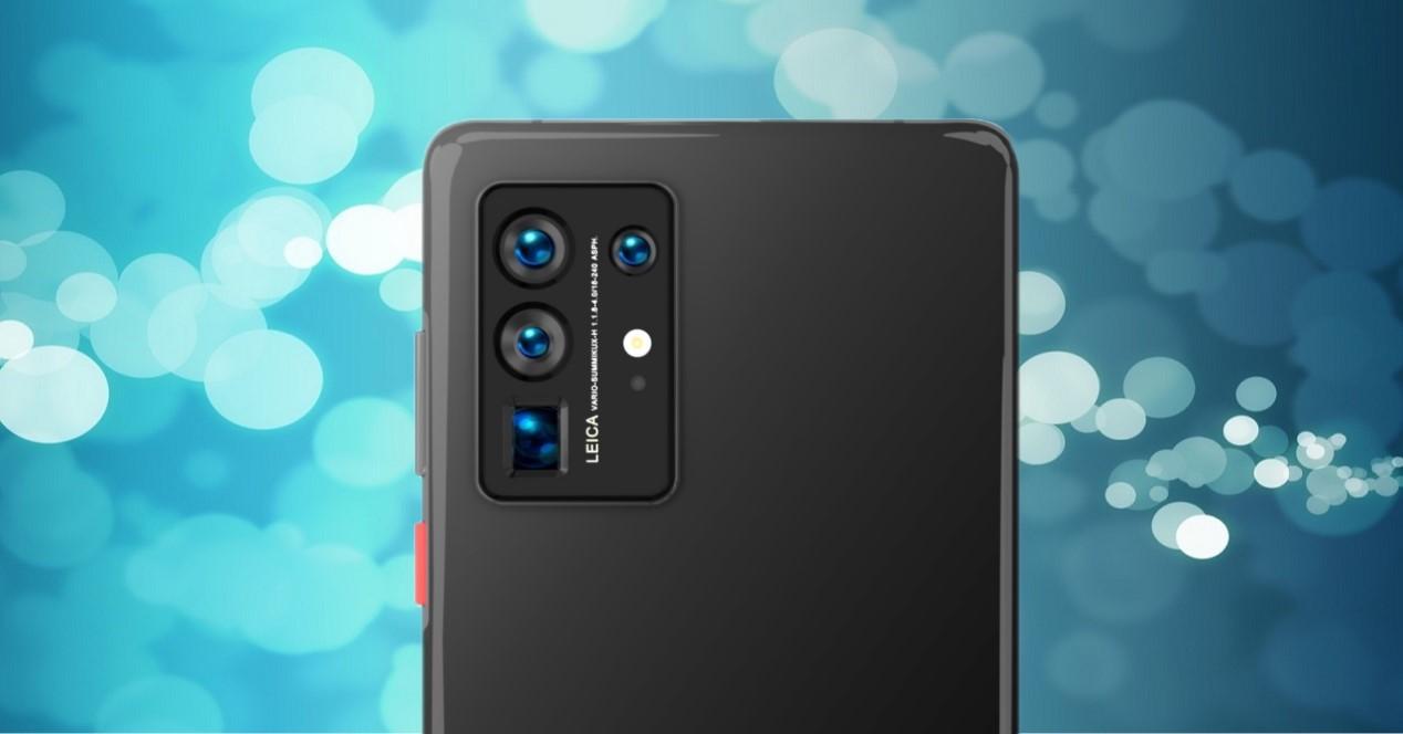 Huawei P50 Pro render y fondo de burbujas