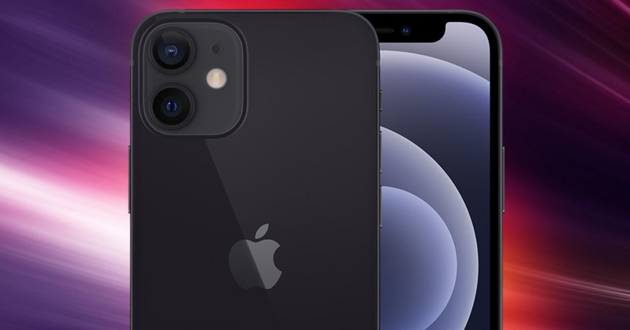 iphone 12 negro y fondo de colores