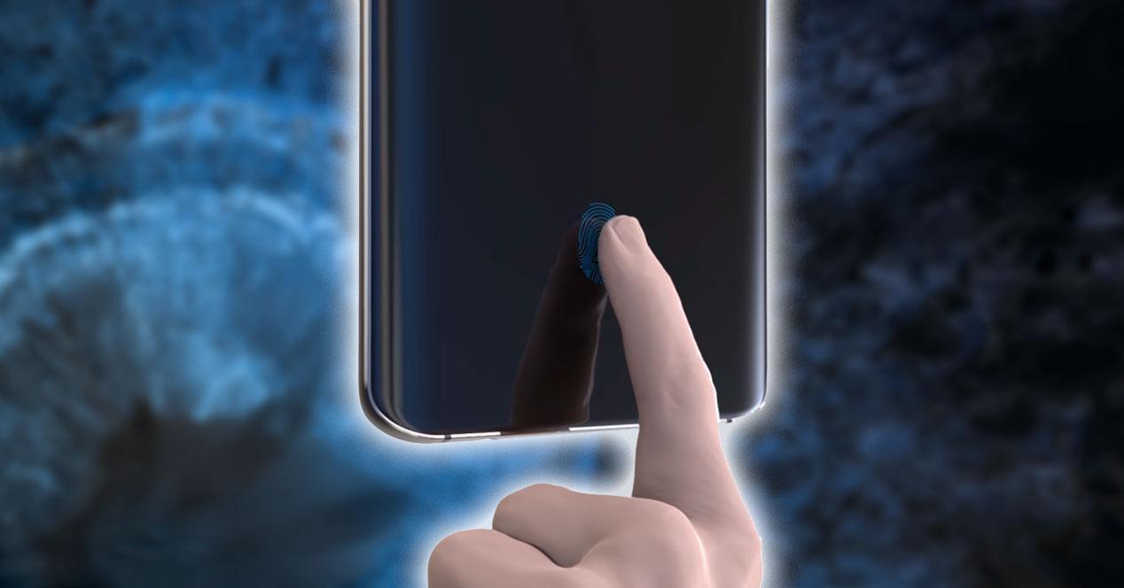 sensor de huellas pantalla