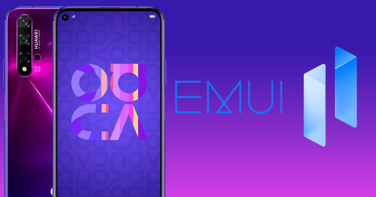 Huawei Nova 5T y logo emui 11