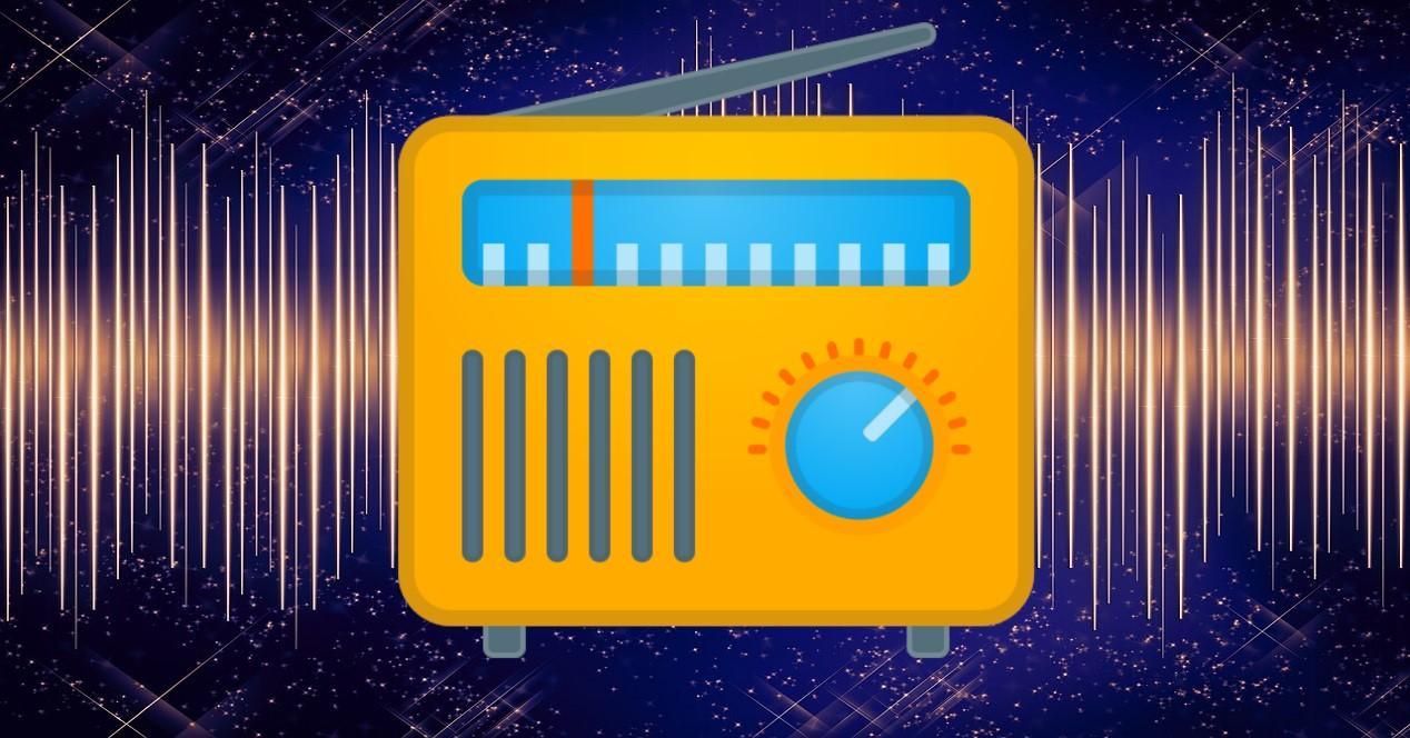 icono de radio y ondas de sonido