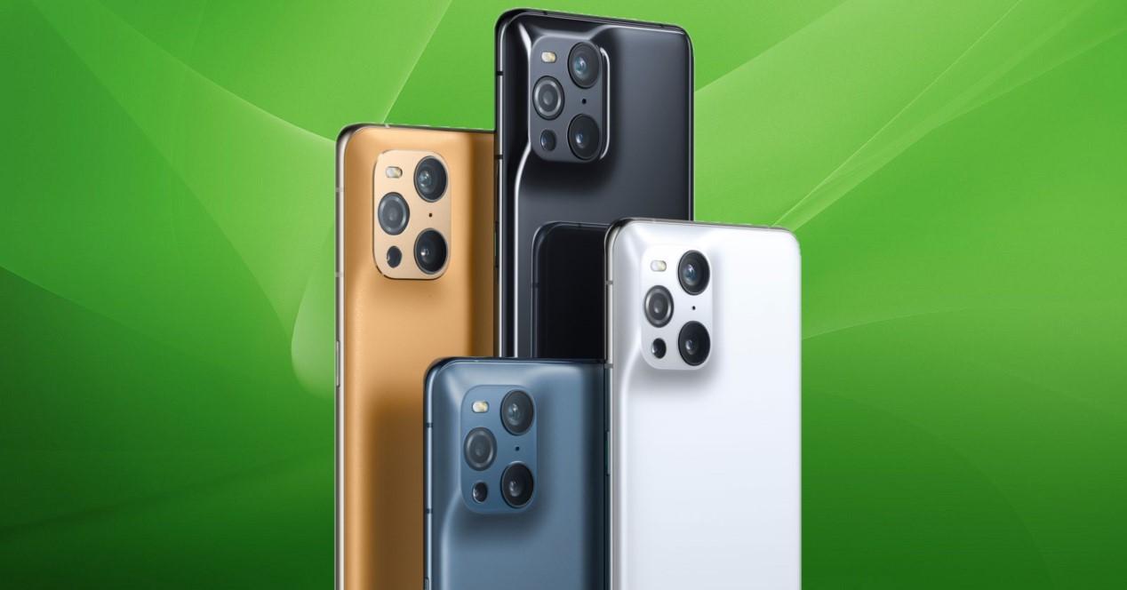 oppo find x3 diseño y fondo verde