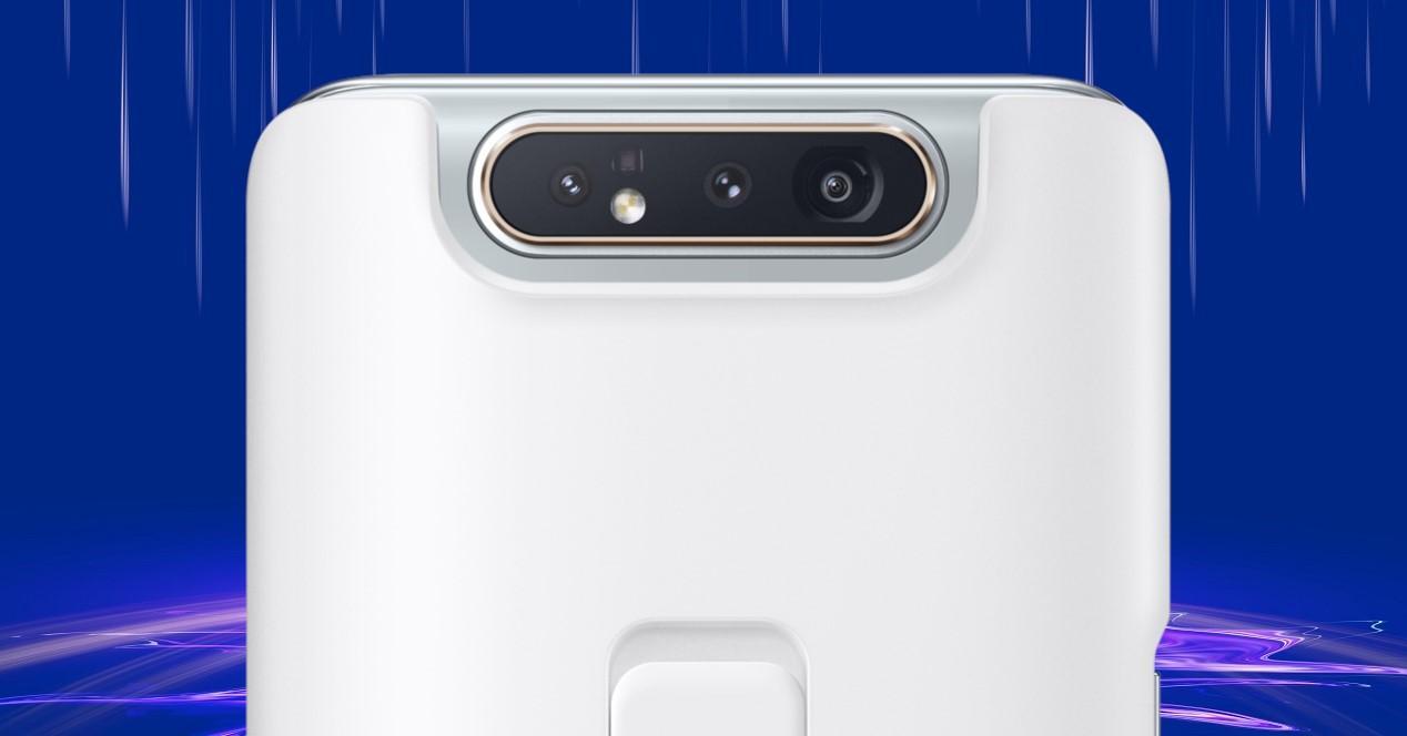 Samsung Galaxy A80 blanco y fondo espacio