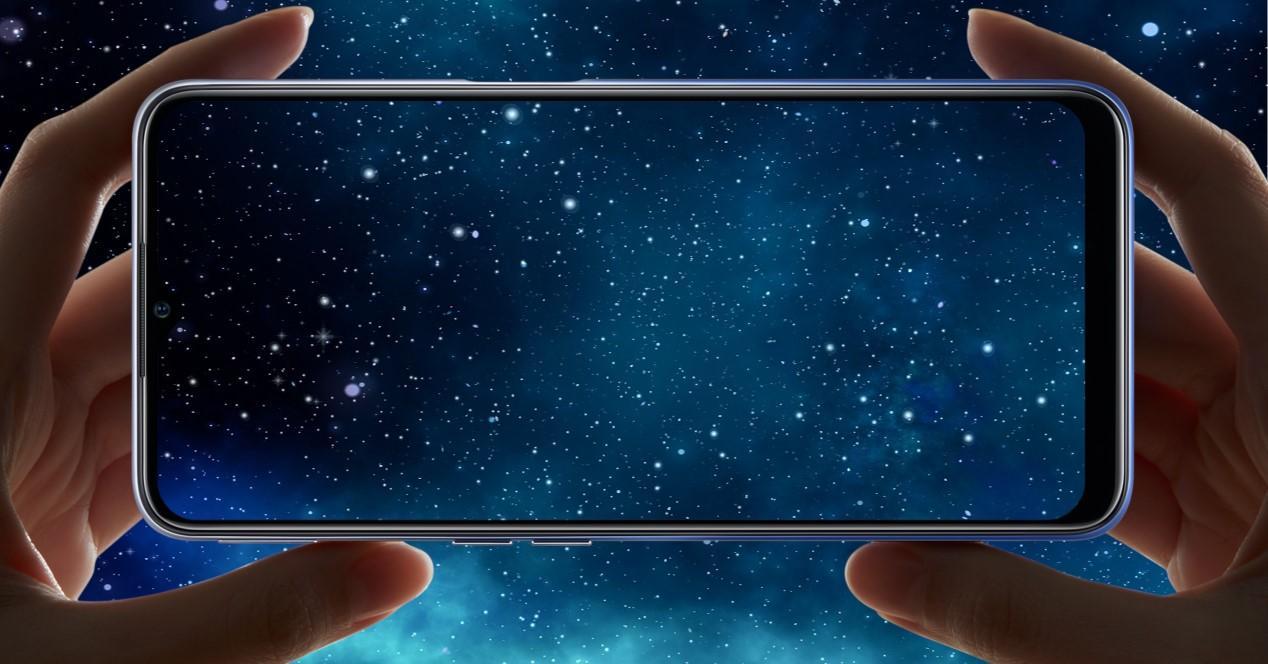 movil y fondo de estrellas