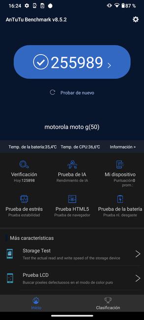 Moto G50 resultado en AnTuTu