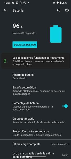 Batería en los ajustes del Moto G50