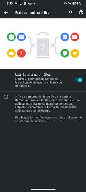 Batería automática en el Moto G50
