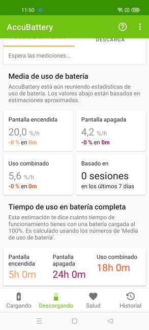 Datos del consumo del realme 8