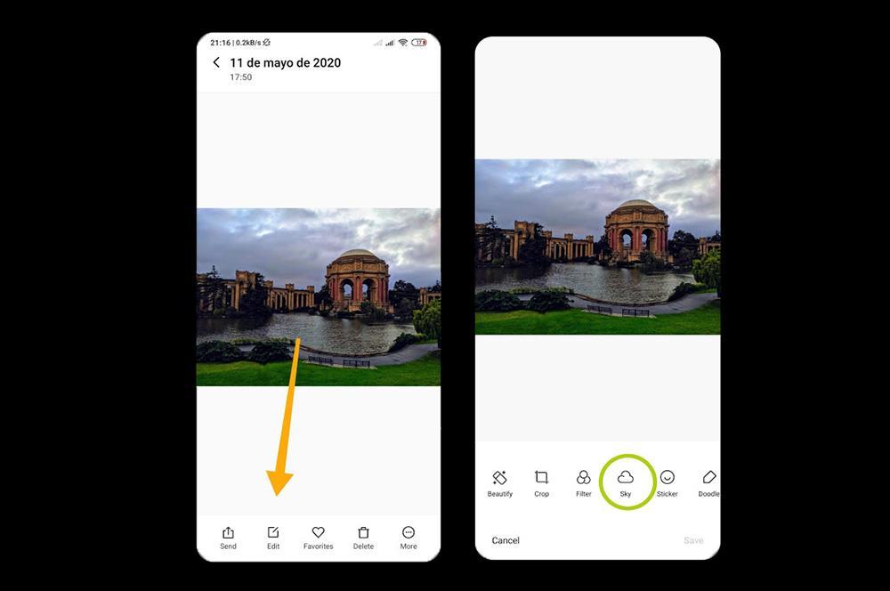 Modificer cielo en la galería de Xiaomi