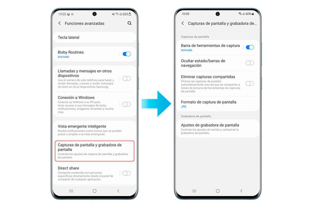 Formato captura de pantalla en Samsung
