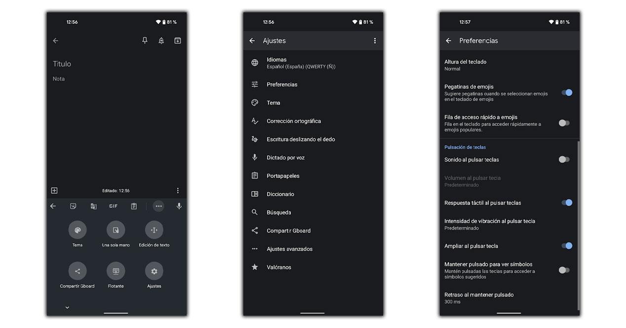 vibracion teclado android