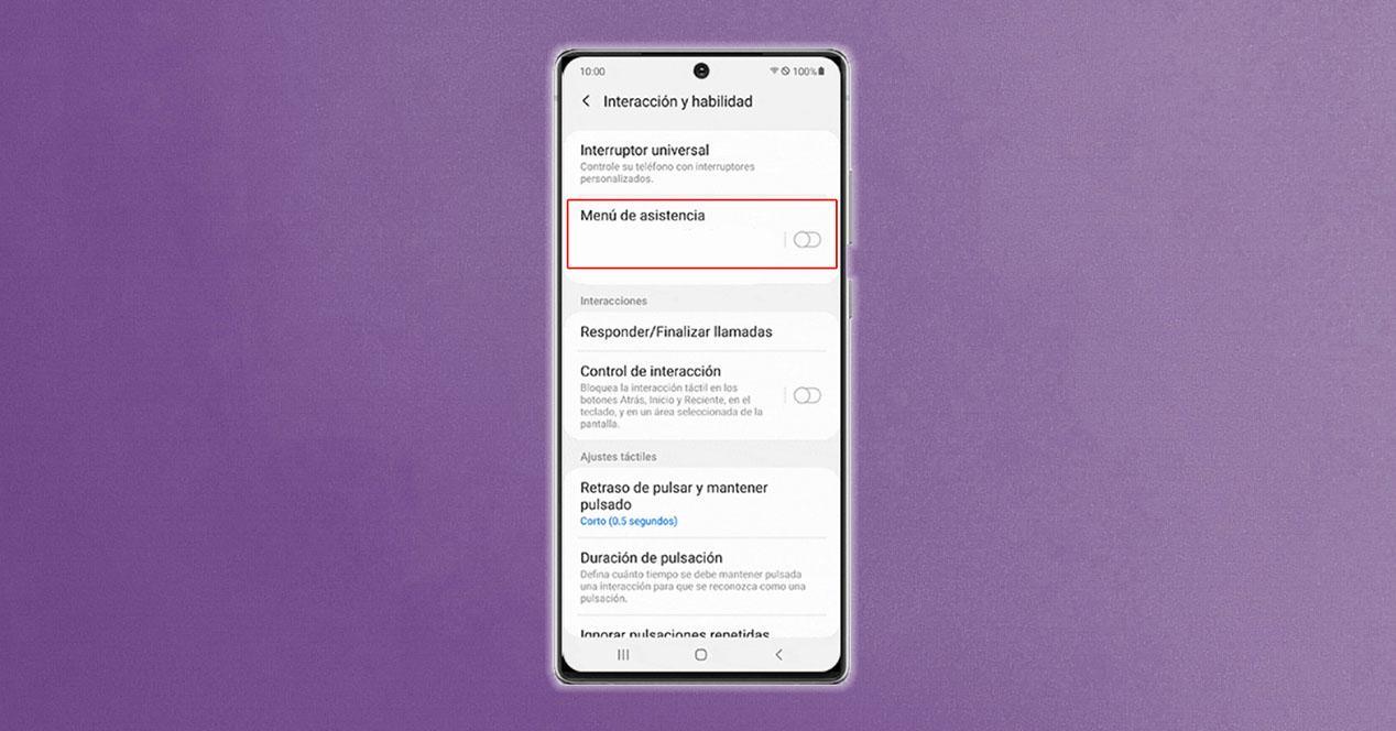 Menú de asistencia de Samsung