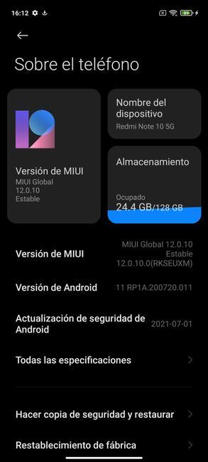 Información del sistema en el Redmi Note 10 5G