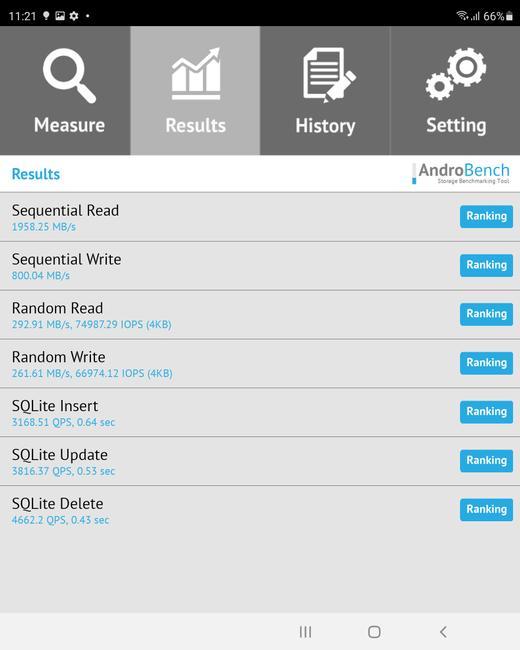 Resultado en Androbench con el Galaxy Z Fold3 5G