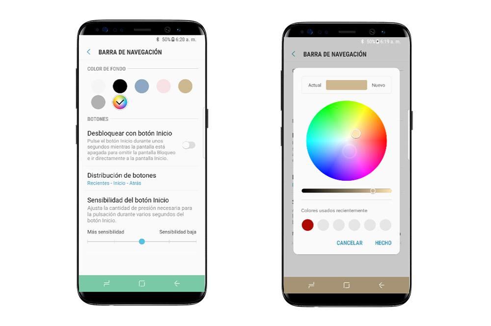 Culori barra de navigare Samsung