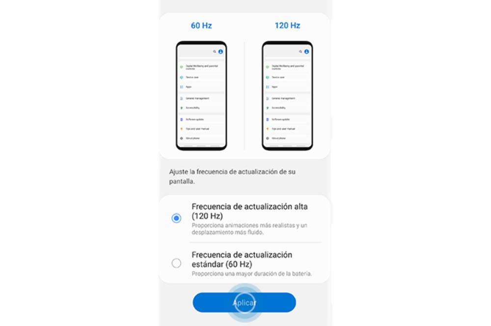 Cambiar tasa de refresco Android