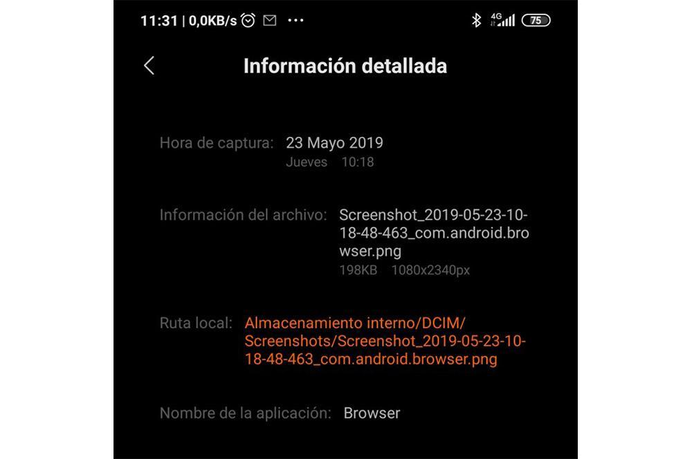 Ruta capturas de pantalla Xiaomi